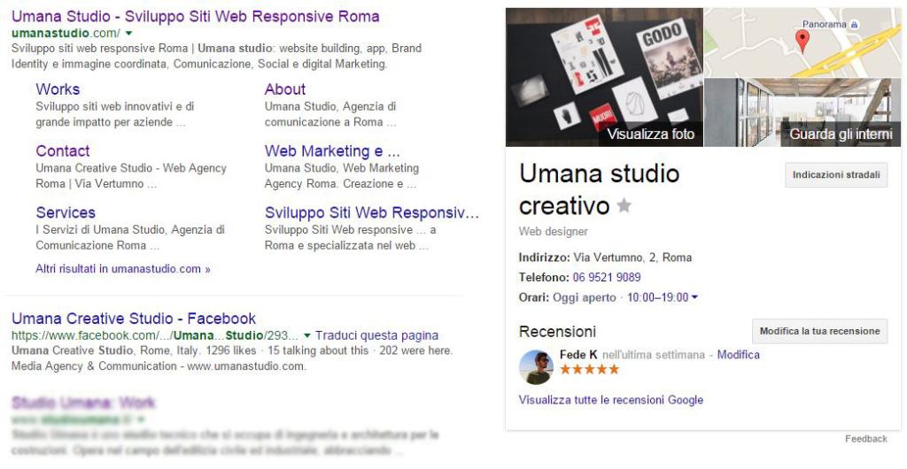 umana studio google business scheda